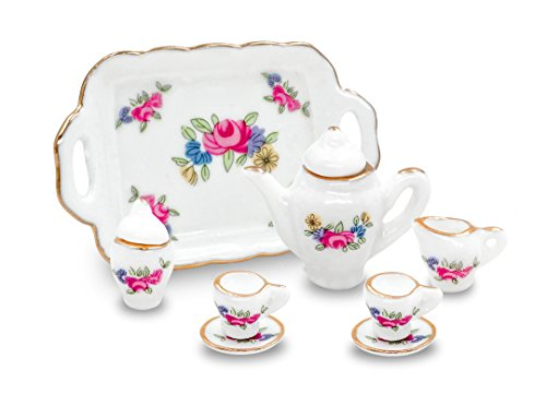 10pc Porcelain Miniature Tea Set with Tray,Cup,Saucers,Cream & Sugar and Lids
