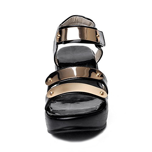 Sequin And Leather Loop Patent Sandals Girls Hook 1TO9 Black IU1Bq