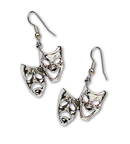 Comedy Tragedy Masks for Drama Theater and Actors Silver Finish Pewter Dangle Earrings (Comedy Tragedy Drama Masks)
