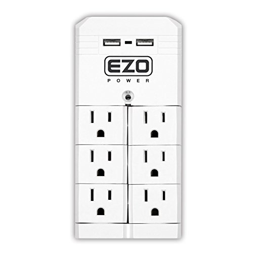 [UL Certified] EZOPower Rotating Wall Tap Mount Power Strip with 6 Pivot Outlet Plug + 2 USB Charger Plug- White