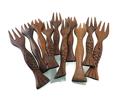 Lot of 10 Pcs. X 4'' Wooden Small Forks Dessert Fork Fruit Handmade Red wood by amazingonline