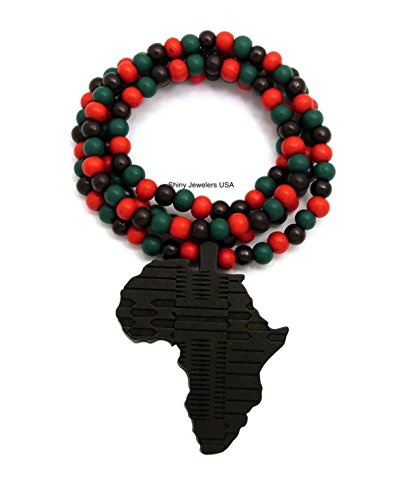 MENS AFRICA MAP WOOD AFRICAN CONTINENT EGYPTIAN SYMBOL WOODEN BEAD CHAIN NECKLACE (Multi Color)