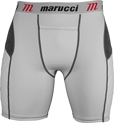 Marucci Youth Elite Padded Slider Shorts with Cup, Medium, White