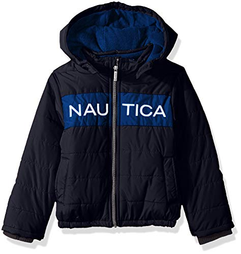 Nautica Boys' Toddler Water Resistant Signature Bubble Jacket with Storm Cuffs, Arthur Navy, 3T