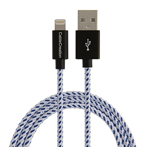[Apple MFi Certified] CableCreation Lightning to USB Charge and Sync Cable for iPhone 6S iPhone 6,iPhone 5/5S/5C, Metal Plug & Cotton Jacket, Blue & White, L=4ft/1.2m