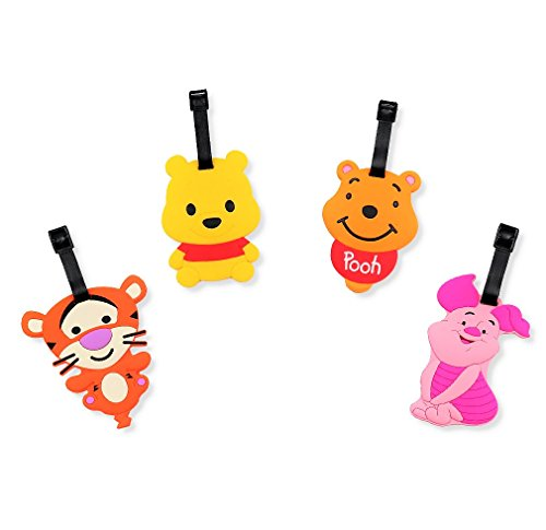 Finex - Set of 4 - Winnie the Pooh and Friends Tigger Piglet Travel Luggage Tags Bag Tag with Adjustable Strap