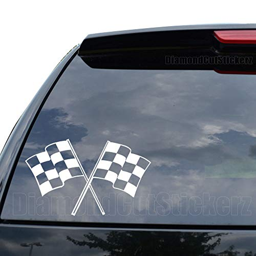 DiamondCutStickerz Racing Checkered Flag NASCAR INDY Decal Sticker Car Truck Motorcycle Window Ipad Laptop Wall Decor - Size (05 inch / 13 cm Wide) - Color (Matte - Checkered Racing Nascar Flag
