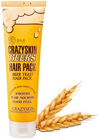 CRAZY SKIN Beers Hair Pack 200g - pH 5.5 German Beer Yeast Hair Treatment Mask - Protein, Keratin, Argan Oil, Camellia Oil, Collagen Contained - Repair Dry, Damaged or Color Treated Hair