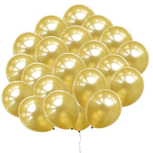 Eshanmu 100 pcs 12 inch Gold Pearl Latex Balloon for Boy Girl Party for Activity Campaign
