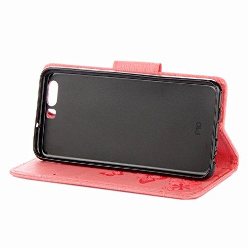 Yiizy Huawei P10 Custodia Cover, Farfalla Fiore Design Sottile Flip Portafoglio PU Pelle Cuoio Copertura Shell Case Slot Schede Cavalletto Stile Libro Bumper Protettivo Borsa (Rosa)