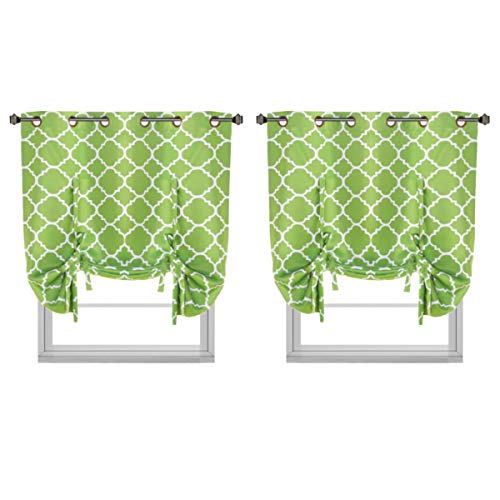 H.VERSAILTEX Blackout Curtains Home Decoration Easy Care Thermal Insulated Grommet Top 2 Panels/Drapes for Bedroom/Living Room, Set of 2, 40W x 63L, Moroccan Green Pattern