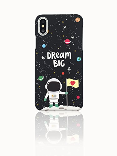 - Sweetchoco Phone Case for girls, Astronaut Pattern Matt Finish Hard PC Materials with Sleek Anti-Fingerprint Shockproof Protection with 1 pack HD Tempered Glass Screen Protector (Astronaut)