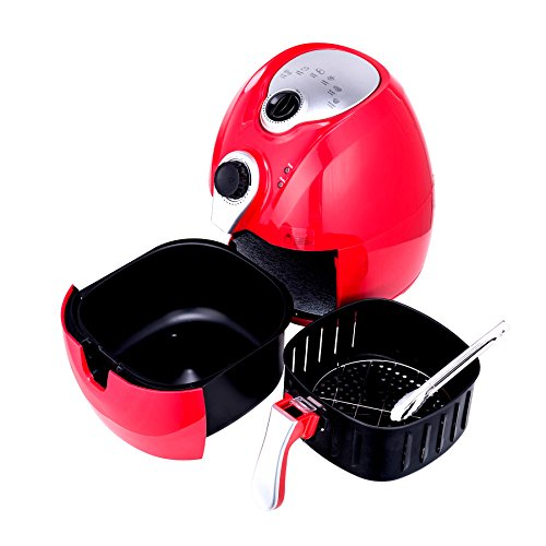Co Z Upgraded 3 2L Electric Air Fryer 3 4 Qt Oil Free Less Airfryer Temperature Control Timer With Rapid Air Circulation System  Detachable Basket  Red