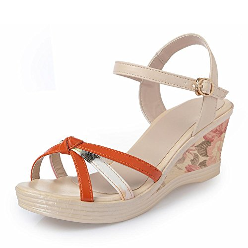 Girls L@YC Women 'S Sandals Summer Slope With Thick Bottom High Heeled Waterproof Table Leisure Leather Fight Color Female , red , 39