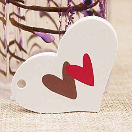3cd26c26212 Amazon.com  Lysee 100pc Multi Styles Heart Shape Wedding Card tag ...