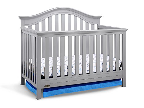 Graco Bryson 4-in-1 Convertible Crib, Pebble Gray, Easily Converts to Toddler Bed Day Bed or Full Bed, Three Position Adjustable Height Mattress, Some Assembly Required (Mattress Not Included)