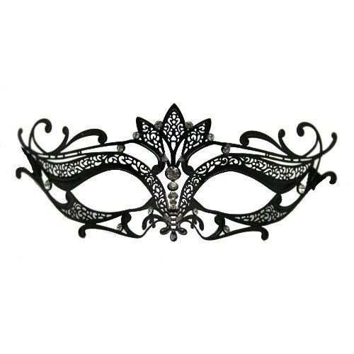 Laser Cut Metal Tiara Venetian Pretty Masquerade Mask Clear Rhinestones (Black)