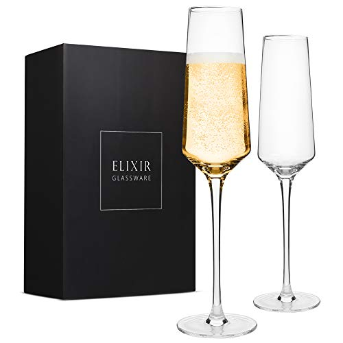 Classy Champagne Flutes – Hand Blown Crystal Champagne Glasses – Set of 2 Elegant Flutes, 100% Lead Free Premium Crystal…