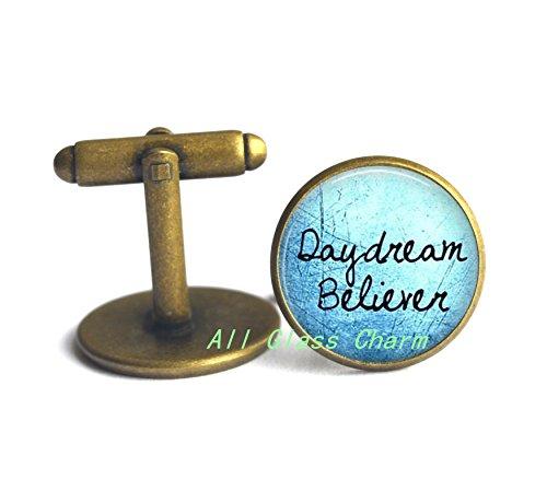 Beautiful Cufflinks,Daydream Believer - Optimist - I believe in dreams - Day Dream Believer Cufflinks Cuff links - Positive Message Jewelry,AS0166 (Halloween Song In French Lyrics)
