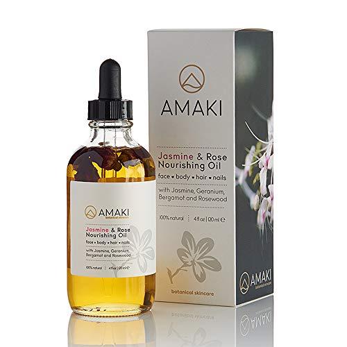 Amaki Organic Essential Oil for Face, Body, Lip, Hair & Nails   Blend of Rosehip, Jojoba, Sweet Almond, Primrose, Argan, Jasmine   Best Facial Moisturizer Serum, Reduces Wrinkles, Acne Scar
