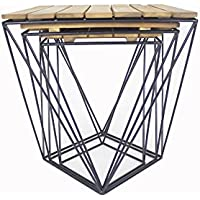 Heather Ann Creations W50150-NATB Kinney Nesting Tables, Wood/Iron