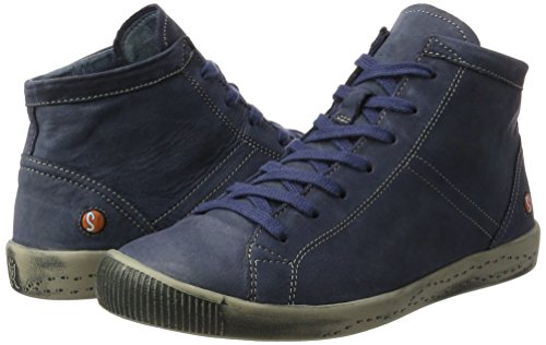 Softinos top navy Isleen Hi Women''s Blue Washed Trainers HwPHq6xrI