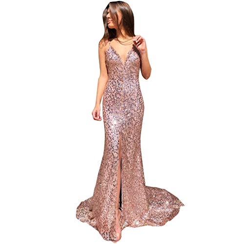 Aunimeifly Stylish Cocktail Party Ladies Gown Woman's Deep V-Neck Sexy Open Back Sling Dresses Slits Shiny Bling Dress Pink ()