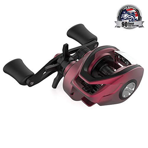 Reel Baitcast Red - Cadence Fishing CB5 Baitcasting Reels Lightweight Graphite Frame Fishing Reels with 8 Corrosion Resistant Bearings Baitcaster Reels Carbon Fiber Drag Baitcast Reels with 6.6:1 Gear Ratio Casting Reels