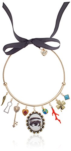 - Betsey Johnson Mixed Multi-Charm Adjustable Choker Necklace