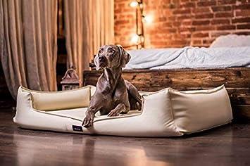 tierlando G5-L-05 Articulos ortopedicos Cama para perro GOOFY VISCO Anti- pelo Cuero artificial Sofá para perro Cuna para perro Talla XL 120cm Beige Crema ...