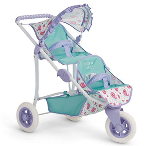 American Girl Bitty's Double Stroller for 15 Inch Dolls (Badger Basket Three Wheel Doll Jogging Stroller)