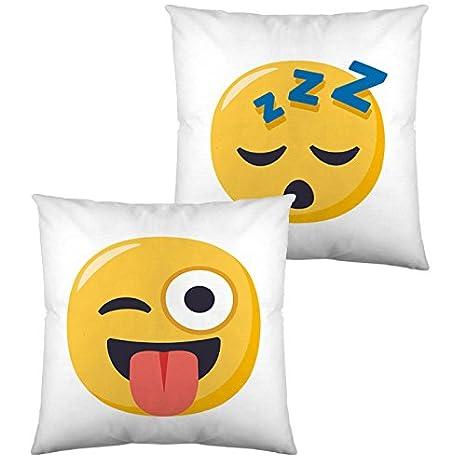 Emoji Funda de cojin Reversible 5 40x40 cm: Amazon.es: Hogar
