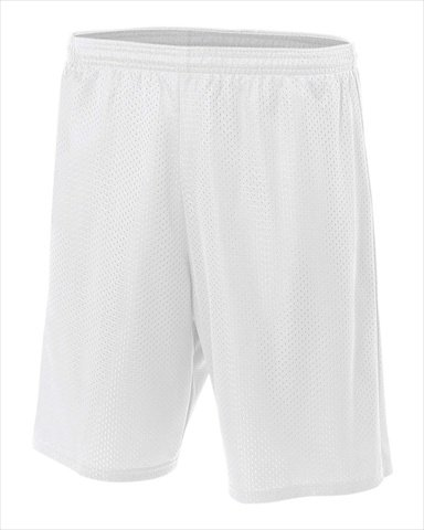 "A4 7"" Lined Tricot Mesh Shorts, White, Large"