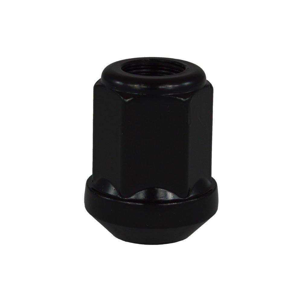 EvoCorse Écrou de roue ouvert M12x1.25, Clé 19, Cône 90°, Longueur 31 mm, Noir galvanisé, 4 pcs Clé 19 Cône 90° Noir galvanisé