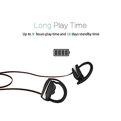 Bluetooth Headphones, Wireless In Ear Sports Earbuds Sweatproof Earphones Noise Cancelling Headsets with Mic 11 Hours Play Time