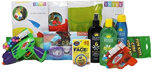 Sunblock Convenience - Family Beach Pack | Kid Friendly Sunscreen | Pool Toys | Family Sunblock - 11 Items