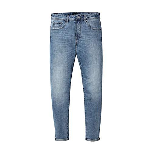 New Jeans Men Classical Jean Straight Leg Male Casual Pants Plus Size Cotton Denim Trousers Light Blue