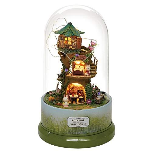 - XuBa DIY Doll House Furnitures Miniature Doll House Dust Cover Wooden Dollhouse Light House for Dolls Toys for Children Music B027#E