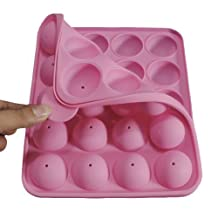 Silicone Cake Pops Mold, Eruner 20 Cavities Round Lollipop Muffins Baking Pan Cake Balls Bath Bombs Baked Tray for Brownies Party Cupcake Pan Baking Mold With Stick, Pink