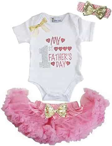 25f88ecf2936 Kirei Sui Baby Gold Bow Pink Pettiskirt & 1st Father's Day Bodysuit &  Headband
