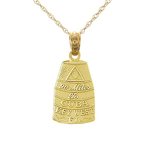 14k Yellow Gold Travel Charm with Chain, Small Buoy Southern Most Point USA Key West (Florida Southern Pendant)