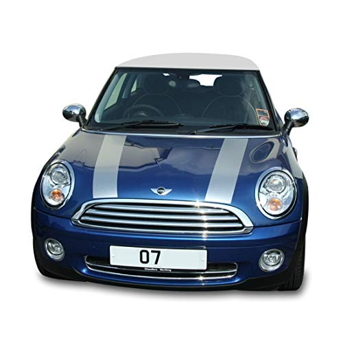 Bubbles Designs 2X Decal Sticker Vinyl Bonnet Hood Racing Stripes Compatible with Mini Cooper Hatch Hardtop 2001-2016
