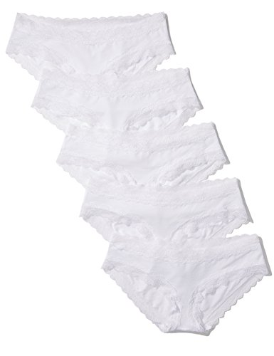 Iris & Lilly Women's Cotton Hipster with Lace, Pack of 5, White, Small (US 2-4) (Hipster Panties Lace)
