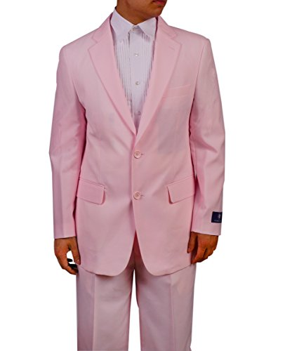 [Men's Single Breasted Pink Dress Suit (52 long)] (Pink Man Suit)