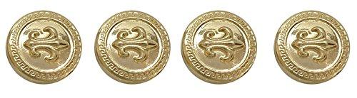 (Round Metal Crest And Fleur De Lis Symbol Embellishment Shank Blazer Coat Buttons)