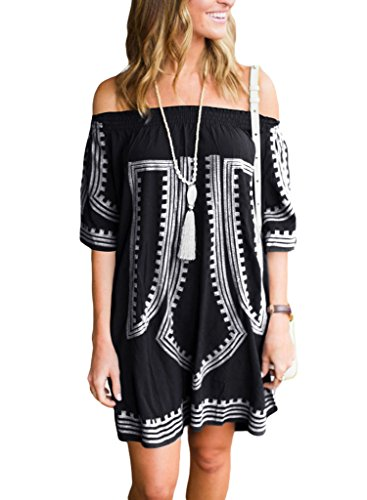 GOSOPIN Bohemian Vibe Geometric Print Off The Shoulder Beach Dress One Size ()