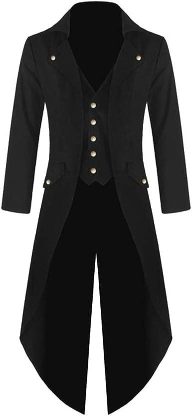 Conqueror Hommes Manteaux,Manteau pour Homme Tailcoat Jacket Redingote Gothique Uniforme Costume Partie Vêtements de Dessus Veste Manteau Costume
