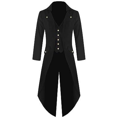 ❤ Gothic Abrigo Hombre, Abrigo Traje de Uniforme de tartán Praty Outwear Vestido de Uniforme de Hombre de Smoking Steampunk Retro Moda Absolute: ...