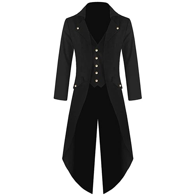 Coat for Men, Pervobs Mens Tailcoat Jacket Gothic Frock Long Sleeve Uniform Costume Praty Coat Outwear