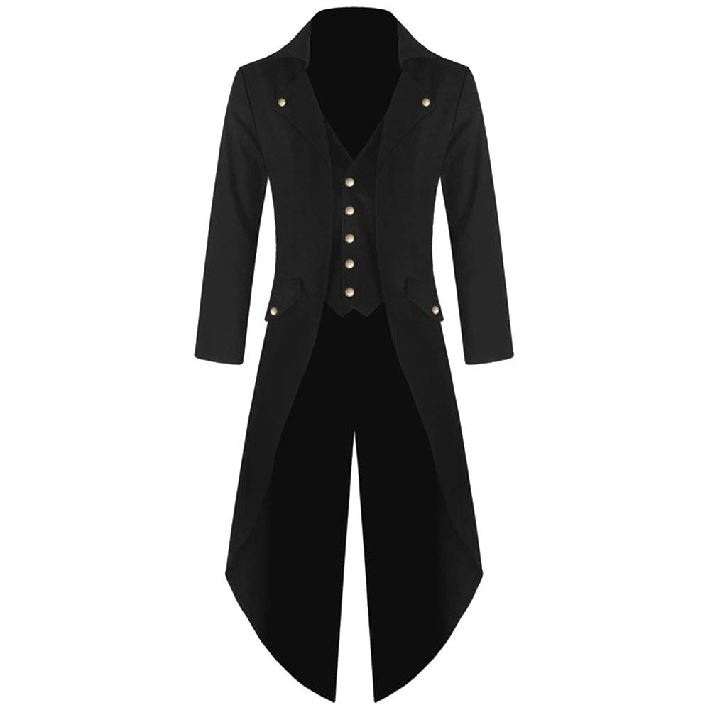 Kemilove Men's Coat Tailcoat Jacket Gothic Frock Coat Uniform Costume Praty Outwear
